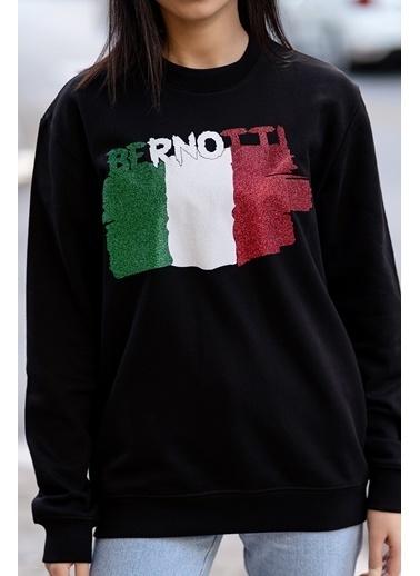 Bernotti 79 Siyah Baskı Detaylı Sıfır Yaka Kadın Sweatshirt Siyah